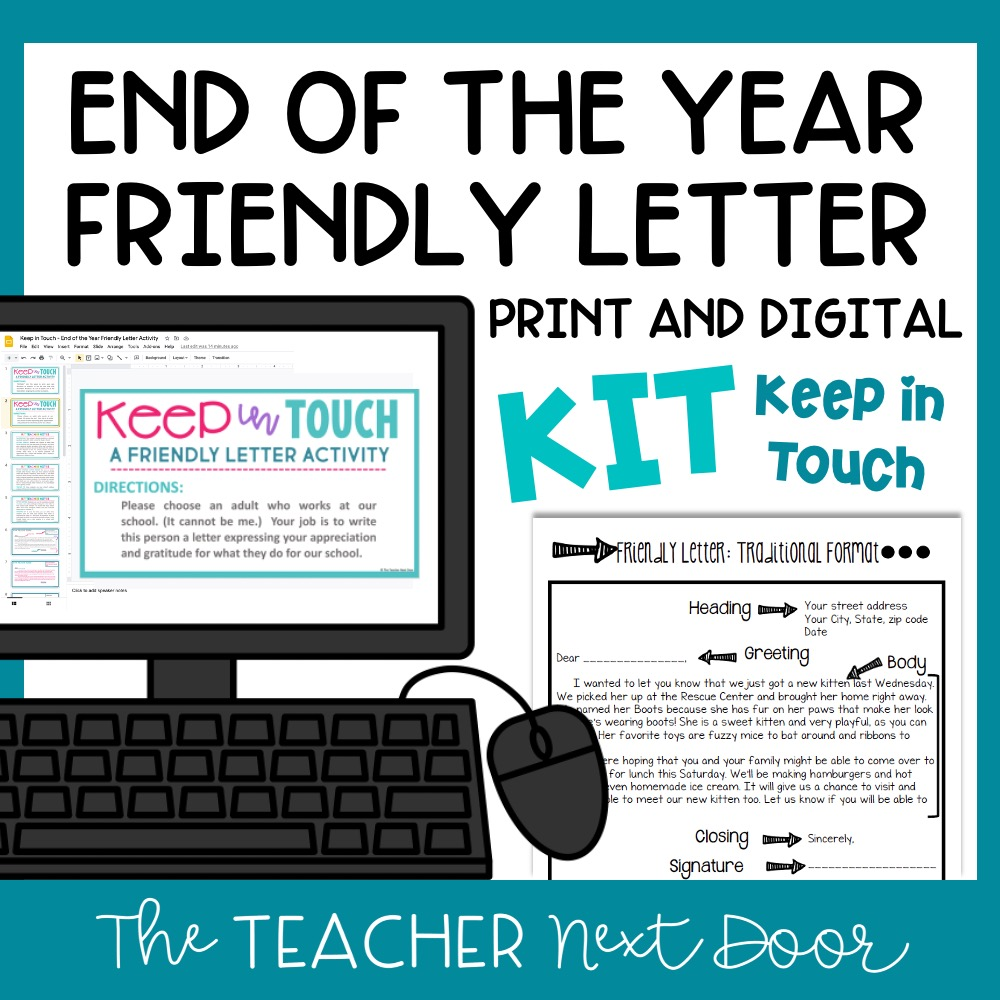End of the Year Keep In Touch Friendly Letter - Print & Digital Cover