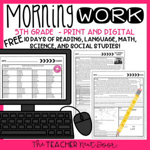 Fifth Grade FREE Morning Work Cover New 2