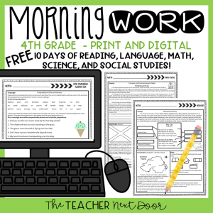 Fourth Grade FREE Morning Work Cover New 2