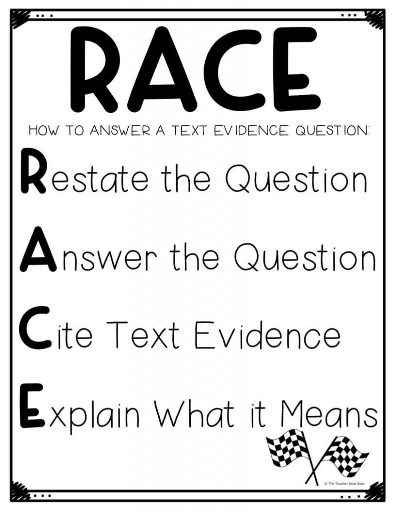 Using the RACE Strategy for Text Evidence - The Teacher Next Door