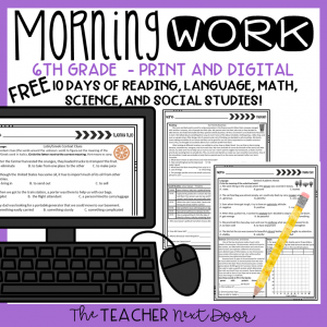 FREE Sixth Grade Morning Work Cover Free