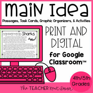 4th and 5th Grades Main Idea Print and Digital | Distance Learning | for Google™1