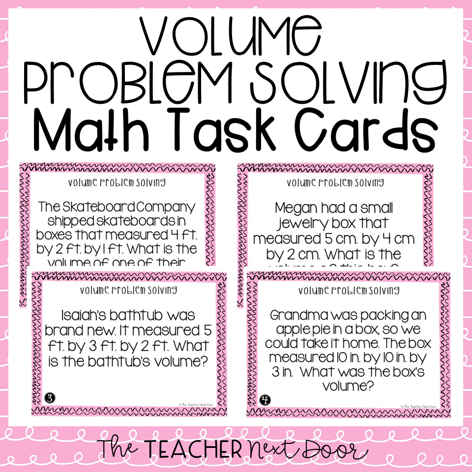 5th Grade Volume Problem Solving Task Cards | Volume Word ...