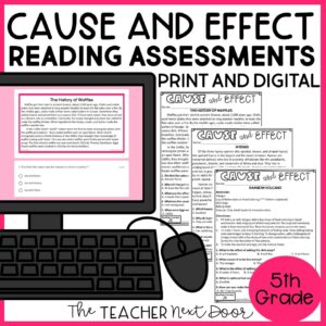 Cause and Effect Standards-Based Reading Assessments for Nonfiction 5th Grade