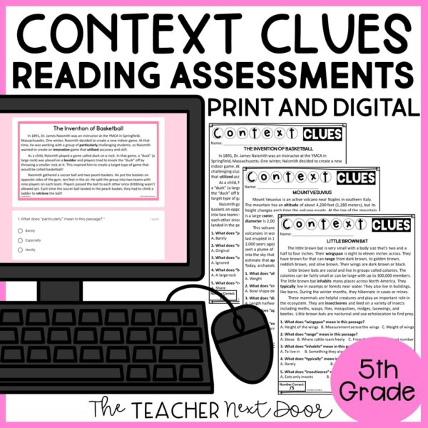 Context Clues Standards-Based Reading Assessments for Nonfiction 5th Grade