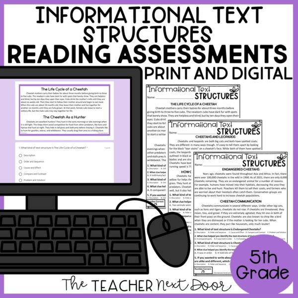 Informational Text Structures Standards-Based Reading Assessments 5th Grade