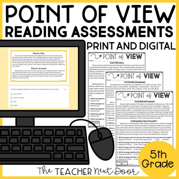 Point of View Standards-Based Assessment for Nonfiction 5th Grade