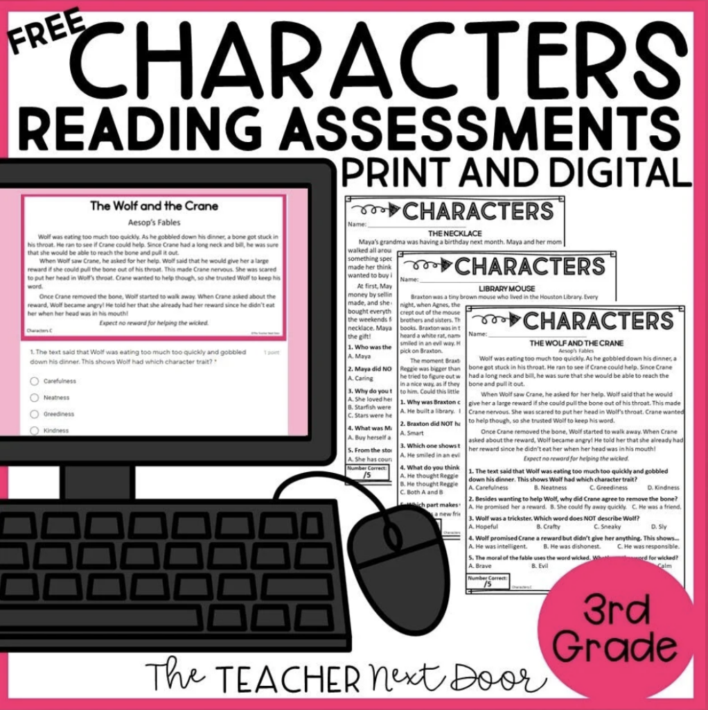 Free Characters Reading Assessments