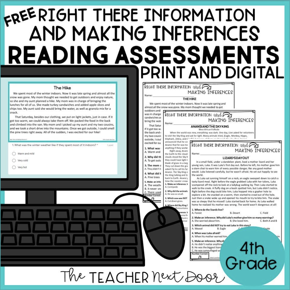 Free Right There Making Inferences Reading Assessments