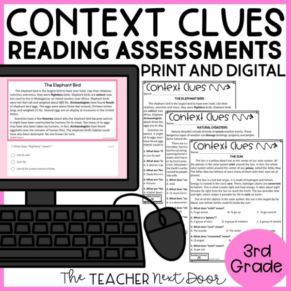 Context clues Standards-Bases Reading Assessments Nonfiction 3rd Grade