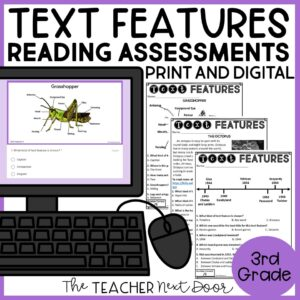 Text Features Standards-Based Reading Assessments 3rd Grade