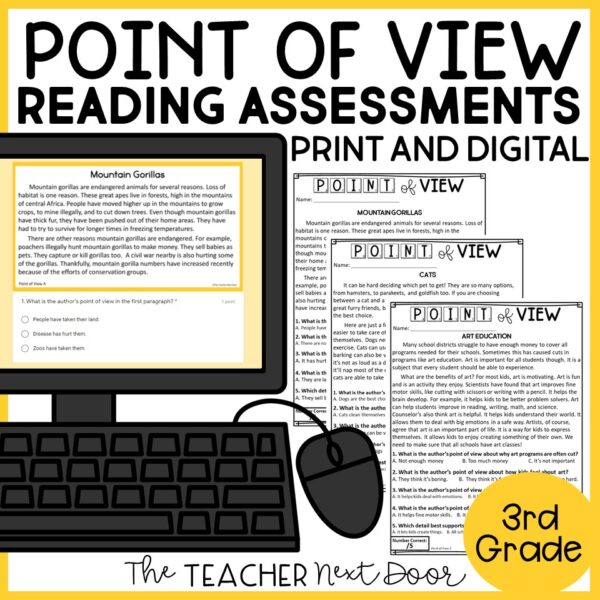 Point of View Standards-Based Reading Assessments Nonfiction 3rd Grade