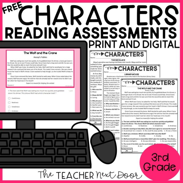 FREE CHaracters Reading Assessments for 3rd Grade