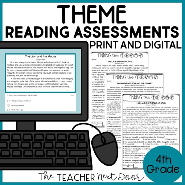 Theme Standards-Based Reading Assessments Print and Digital 4th Grade