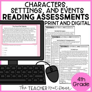 Characters, Settings, and Events Standards-Based Reading Assessments 4th Grade