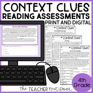 Context Clues Standards-Based Reading Assessments Fiction 4th Grade