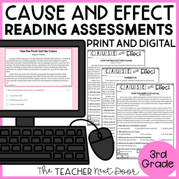 Cause and Effect Reading Assessments for 3rd Grade