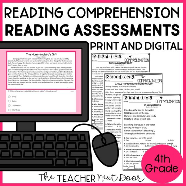 Reading Comprehension Standards-Based Reading Assessments 4th Grade Fiction