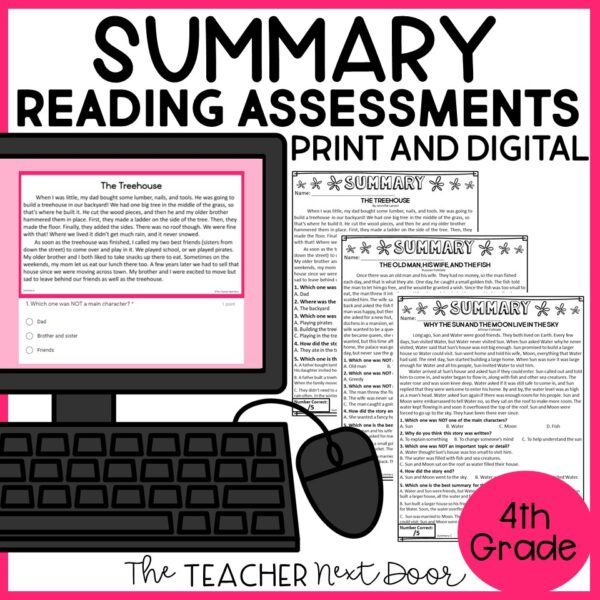 Summary Standards-Based Reading Assessment 4th Grade Fiction