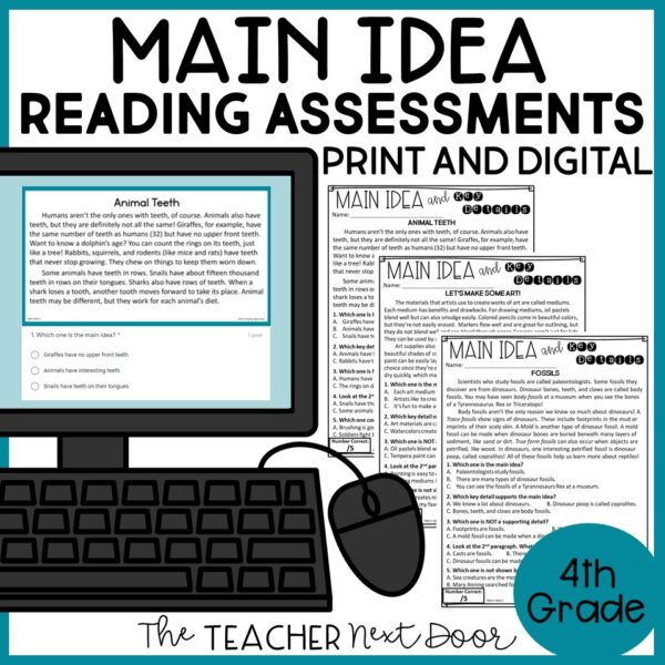 Main Idea Standards-Based Reading Assessments Print and Digital for 4th Grade