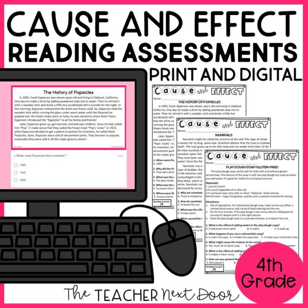 Cause and Effect Standards-Based Reading Assessments Nonfiction 4th Grade