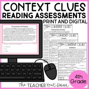 Context Clues Standards-Based Reading Assessment Nonfiction 4th Grade