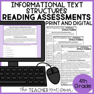 Informational Text Structures Standards-Based Reading Assessments 4th Grade
