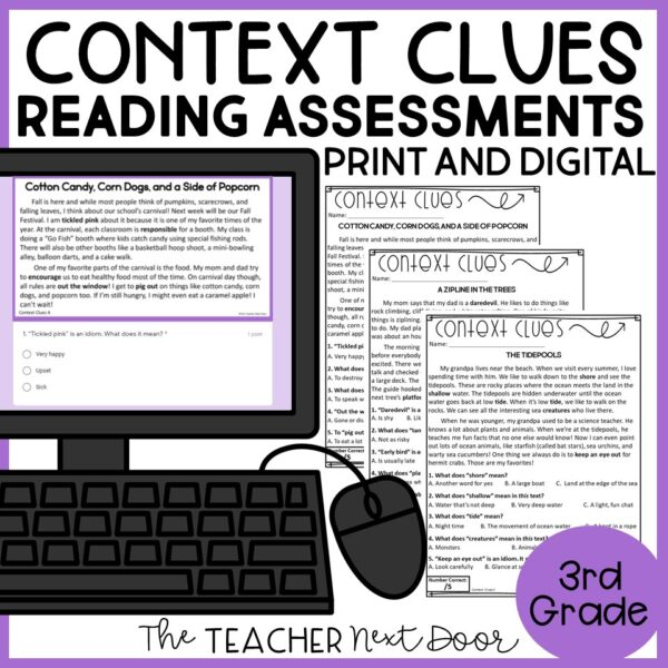 Context Clues Standards-Based Reading Assessments Fiction for 3rd Grade