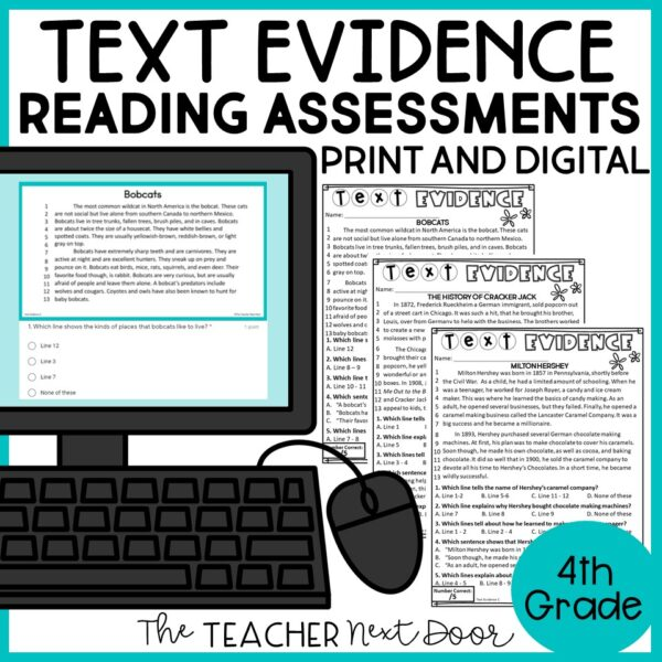 Text Evidence Standards-Based Reading Assessment Print and Digital 4th Grade