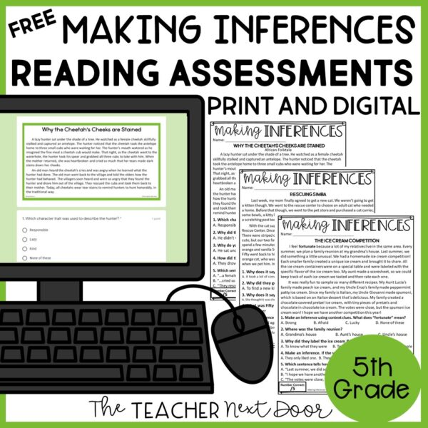 FREE Making Inferences Standards-Based Reading Assessments Fiction 5th Grade