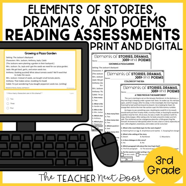 Elements of Stories, Drama, and Poems Standards-Based Reading Assessments for 3rd Grade