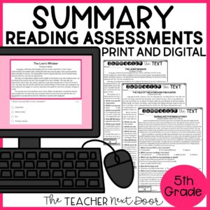 Summary Standards-Based Reading Assessments 5th Grade Fiction