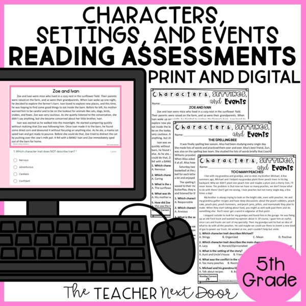 Characters, Settings, and Events Standards-Based Reading Assessments 5th Grade