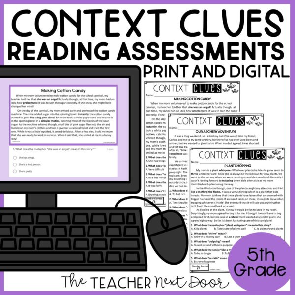 Context Clues Standards-Based Reading Assessments for Fiction 5th Grade