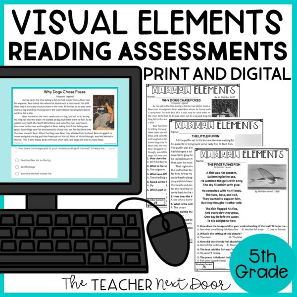 Visual Elements Standards-Based Reading Assessments for Fiction 5th Grade