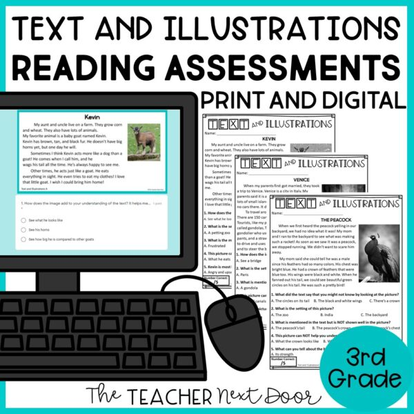 Text and Illustrations Standards-Based Reading Assessments Fiction for 3rd Grade