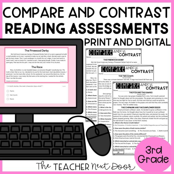 Compare and Contrast Standards-Based Reading Assessments Fiction for 3rd Grade