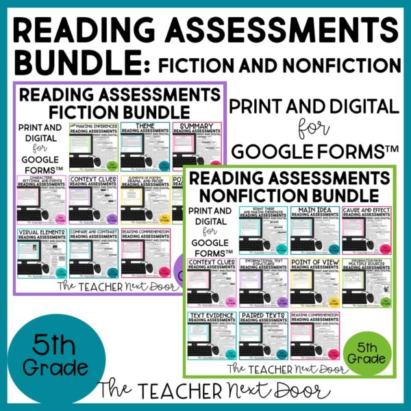 Standards-Based Reading Assessments Fiction and Nonfiction Bundle 5th Grade.