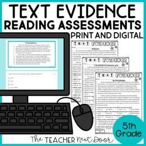 Text Evidence Standards-Based Reading Assessments For Nonfiction 5th Grade